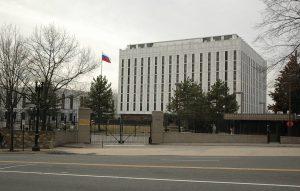 """WASHINGTON D.C., USA - FEBRUARY 14, 2018: A view of the Russian Embassy in Washington D.C. The City Council voted to rename a square in front of the Russian Embassy after murdered politician Boris Nemtsov. Anatoly Bochinin/TASS ÑØÀ. Âàøèíãòîí. 15 ôåâðàëÿ 2018. Ïîñîëüñòâî Ðîññèéñêîé Ôåäåðàöèè â Ñîåäèíåííûõ Øòàòàõ Àìåðèêè íà ïëîùàäè Áîðèñà Íåìöîâà. Ãîðîäñêîé ñîâåò åäèíîãëàñíî îäîáðèë çàêîíîïðîåêò î ïåðåèìåíîâàíèè ïëîùàäè. Ïðè ýòîì àäðåñà íà ýòîì ó÷àñòêå Âèñêîíñèí-àâåíþ ìåíÿòüñÿ íå áóäóò è ðîññèéñêîå ïîñîëüñòâî ïî-ïðåæíåìó áóäåò íàõîäèòüñÿ ïî àäðåñó """"Âèñêîíñèí-àâåíþ, äîì 2650"""". Àíàòîëèé Áî÷èíèí/ÒÀÑÑ"""